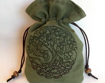 DRUID TREE - Faux Suede Embroidered Bag for Dice, Runes, Tarot Cards, LARP Accessory