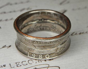 Men's or Women's COIN RING United States Double Quarter 1980 - Torch SOLDERED - Thick and Bold Made from Two Coins - Ultra Grunge Style
