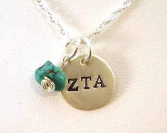 SALE CIJ2017 Zeta Tau Alpha Necklace with Genuine Turquoise Charm - Official Licensed Product