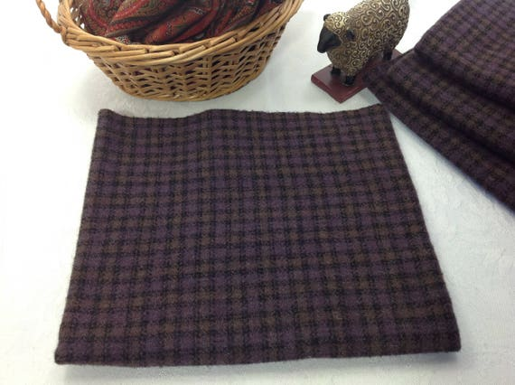 Deep Purple Check, Mill Dyed Wool Fabric for Rug Hooking and Applique, W414, purple and black check wool
