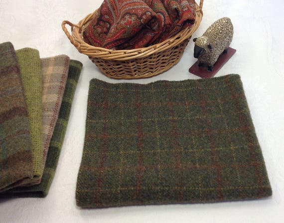 Greens of Winter, Fat 1/4 Yard, Wool Fabric for Rug Hooking and Applique, Mill Dyed, W419,  Windowpane of Green, Soft Red and Gold