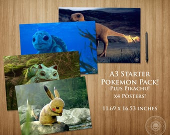 Starter Pokemon Pack PLUS Pikachu A3 Poster