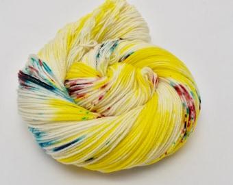 Coco Fingering, Hand Dyed Yarn, Fingering Weight, Superwash Merino, Ultra Soft Merino, Yarn, Hand Painted, 100g, Back in a Flash