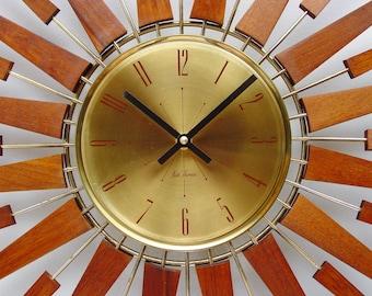 Starburst Clock by Seth Thomas, Mid Century Modern 1970s Starflower Sunburst Wall Clock