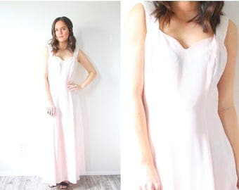 40% OFF CHRISTMAS in JULY Vintage light pink gown // crystal beaded straps // bow detail // pink prom dress // pink gown // Maxi dress // pa
