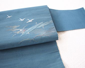 Vintage Japanese Woven Obi belt, Nagoya obi, summer obi, Ro silk obi, Blue seascape  30/368