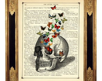 Human Skull Swarm of Butterflies Bones Anatomy Butterfly - Vintage Victorian Book Page Art Print Steampunk Gothic Halloween Poster