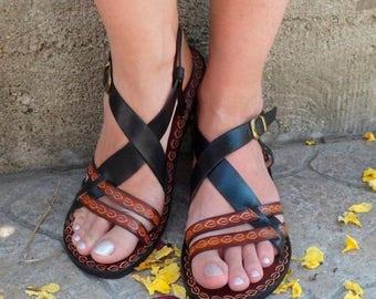 ON SALE Hippie Boho Sandals, Black And Brown Custom Leather Sandals, Unisex Custom Sandals - INSPIRATION