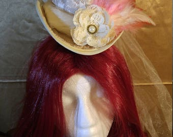 Pink and Cream Steampunk Mini top Hat