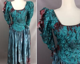 80s Zombie Prom Queen Dress. Custom Made. Bloody Vintage Teal Puff Sleeve Lace Prom Dress. Zombie Halloween Costume. Bloody Dress. Size M