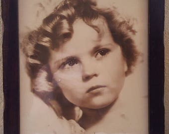 Shirley Temple Mid Century Vintage 11x14 Sepia Toned Framed Photograph