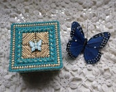 Aqua Blue And Gold Butterfly Trinket Box