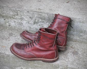 Lovely and rare out of production model 214 Oxblood heritage Leather moc toe work boots - USA made by Red Wing - size US 11.5