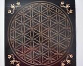 "RESERVED For EVA Black Pine Wood Crystal Grid - 11 1/4""  Flower of Life - Sacred Geometry - Crystal Healing - Grid Template - Manifestation"