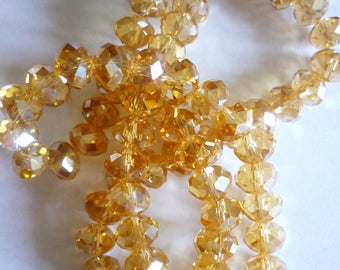 fine champagne faceted glass beads lot 10 brilliant 8x6mm