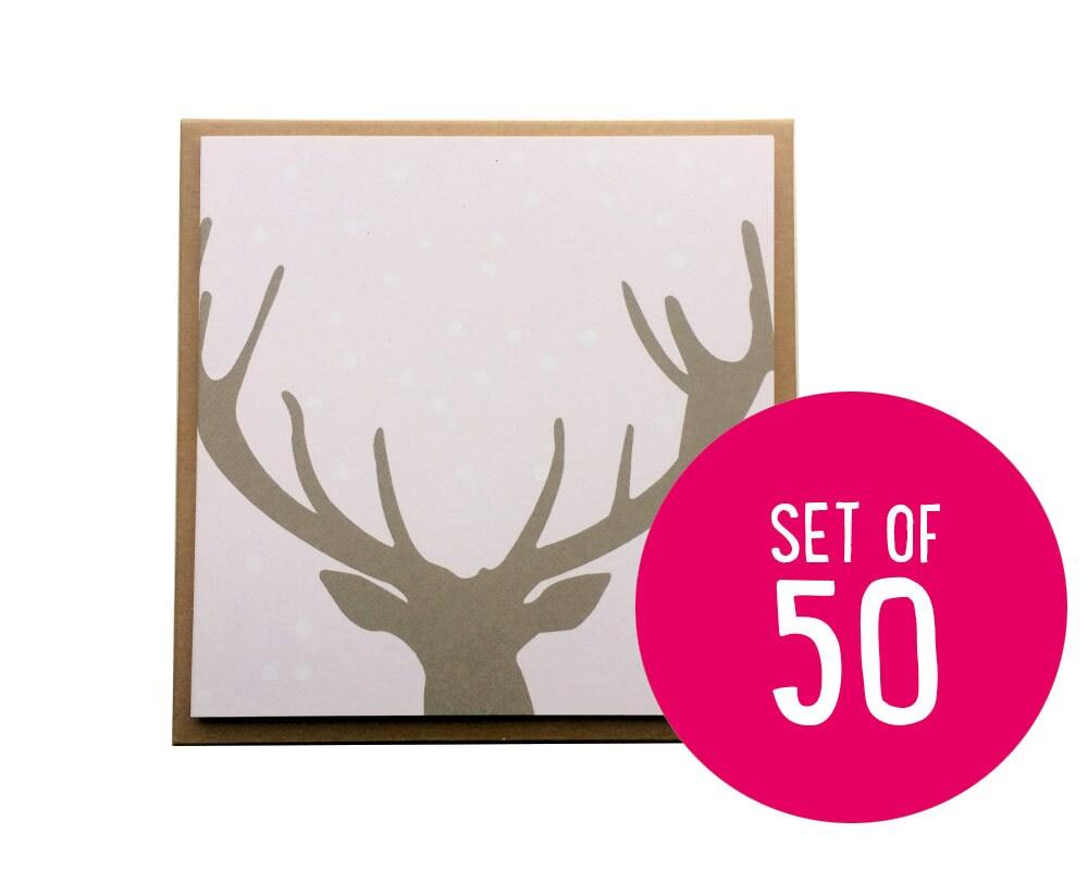 Budget Christmas Cards, Antler Christmas Cards, merry christmas deer ...