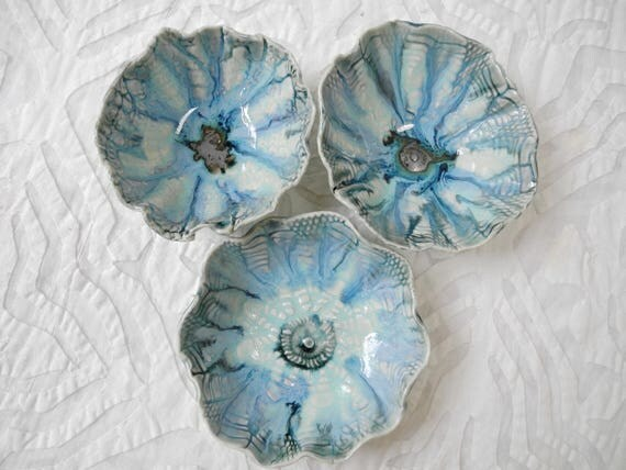 Ring Bowls, Salt bowls, flower bowls, Ocean inspired Bowls, Pinch Pots, lace, Salt bowl, salt cellar, prep bowls, foodie gift, Blue Green