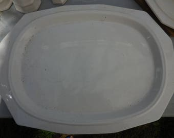 Vintage 1960s Pfaltzgraff Large White Heritage Pattern Serving Tray/Platter Sided 1963 Retro Dining Decor Stoneware Simple/Plain
