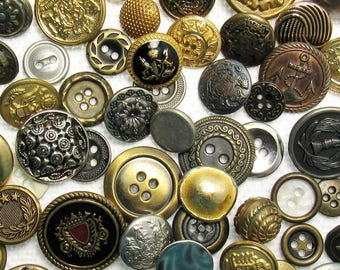 The Metal Button Assortment - A Variety Mix of 100 Vintage to Contemporary Buttons