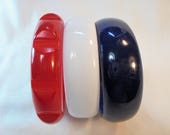 Vintage Red / White / Blue Lucite Bangle / Bracelet Lot of 3 Vintage Plastic Carved Americana 4th of July Mod Retro Statement Runway