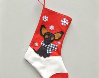 CHRISTMAS IN JULY Black Chihuahua Dog Personalized Christmas Stocking by Allenbrite Studio