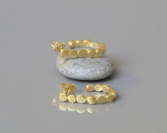 Pebble hoop earrings, Open hoop earrings, 18k Gold plated earrings, Gift for her