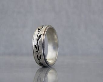 Wedding band for men, Mens leaf wedding band, Sterling silver wedding band for him, Men's Jewelry