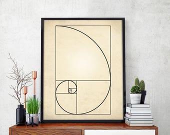 Fibonacci Spiral Art Print, Fibonacci Sequence Print, Mathematics Art, Fibonacci Numbers, Golden Ratio Spiral, Fibonacci Spiral Poster, Math