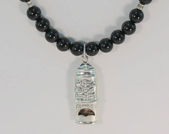 Black onyx necklace, black beaded necklace, whistle pendant, sterling silver, whistle jewelry