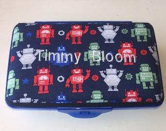 Kids School Pencil Box Case Robots