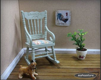 Green Miniature Wooden Rocking Chair for Your Dollhouse, 1:12 Scale Furniture