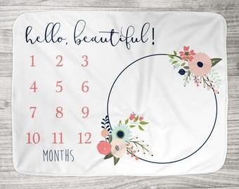 "FREE US SHIPPING Milestone Photo Blanket // Fleece or Minky  34"" x 52"" // Newborn Photo Blanket // Hello Beautiful Navy + Coral Floral"