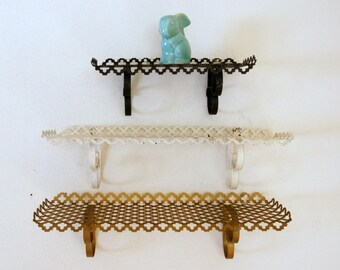 Vintage Wall Shelf, Gold White Black, Punched Metal Shelving, Floating Shelf Choice, Quatrefoil Design