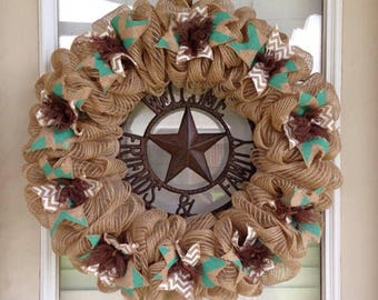 Turquoise And Brown Burlap Wreath Welcome Friends and Family