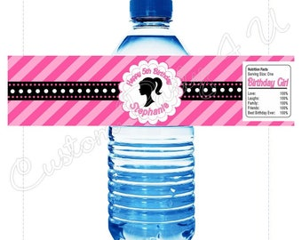 Barbie Water Bottle Label