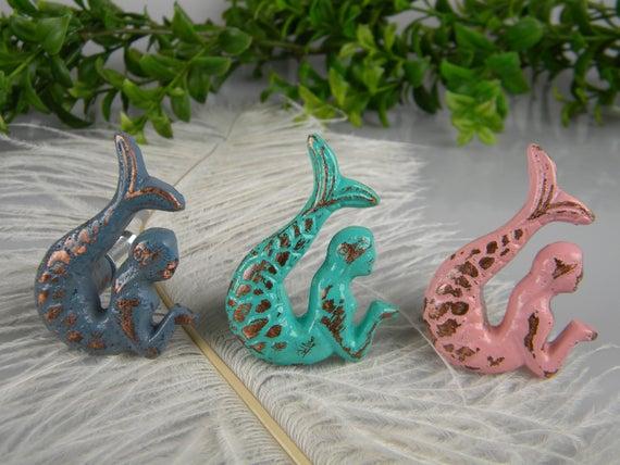 Mermaid Drawer Pulls Knobs / set of 2 opposite facing mermaids