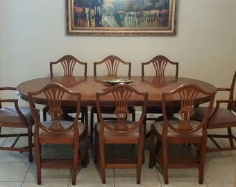 8 Chairs And Table Duncan Phyfe Style Hepplewhite Chairs With Pink Seat  Fabric Cushioned Seats Mahogany Amazing Ideas