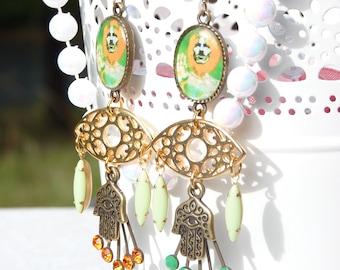 FREE SHIPPING George Harrison Handmade Resin Chandelier Earrings - The Beatles - Eye Earrings - George Harrison Jewelry - Holiday Jewelry