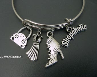Shopaholic Bracelet / Boots and Dress  / Diva Bangle /  Fashionista Bangle /  Shopaholic Bangle / Charm Bracelet / Adjustable Bangle