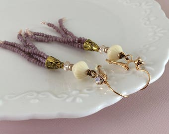 Bohemian wedding dangle earrings in muted lilac and vintage ivory.  Handcrafted wedding jewelry. One of a kind bohemian.