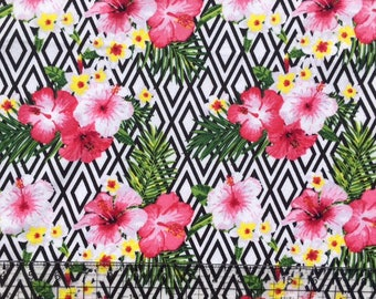 Hawaiian Fabric, BTY, Hibiscus Fabric, Snuggle Flannel, Fabric By The Yard, Girl Fabric, Baby Fabric, Quilters Fabric, Nursery Fabric