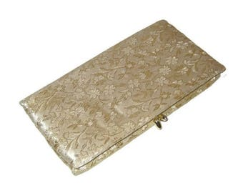 50s Gold Clutch, Gold Lurex Floral, Gold Cocktail Bag, Coctail Clutch Purse, 1950s Evening Bag, Made in USA,