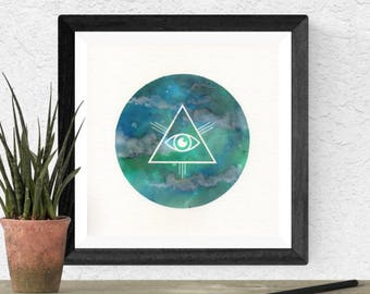 Original Watercolor Blue All Seeing Eye Geometric Circle Glyph Sacred Geometry Space Painting Moon Star Galaxy Art OOAK