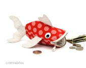 Fish Coin Purse - Easter Gift- Red Fish - Kids Toy Bag - Purse Organizer - Desk Accessory - Fun Childrens Bag - Fish Purse - Ready to Ship