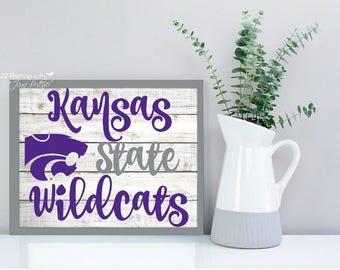 Kansas State Wildcats script shiplap  photography print