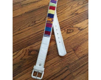 White Leather and Colorful Woven Belt