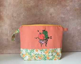 Project bag, knitting, craft, zipper pouch, vegetables