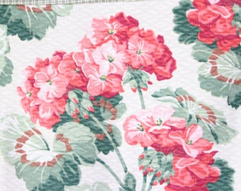Antique French Country European Ticking and Vintage 30s 40s Nubby Floral Geranium Barkcloth Decorative Throw Pillow Cushion
