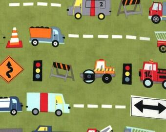 Jenn Ski Fabric, Trucks in Green, Ten Little Things by Jenn Ski for Moda, 30501-17