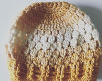 MUSTARD/CREAM beanie, bun hole, messy bun hat